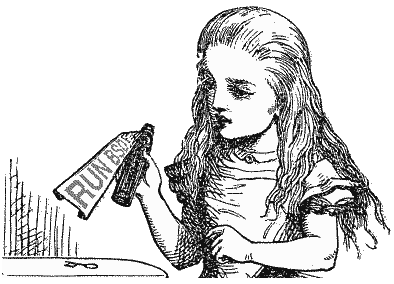 John Tenniel's illustration of Alice holding a RunBSD potion