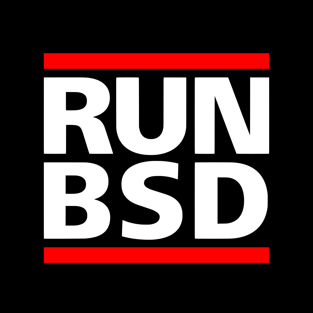 a RUN BSD logo in homage to RUN DMC